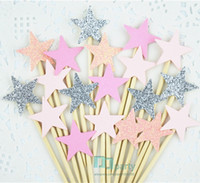 twinkle little star prices - Wholesale-40pcs pink Glitter Star Cupcake Toppers pink Party Supplies Twinkle Little Star Party 1st Birthday Wedding New Years Eve Party