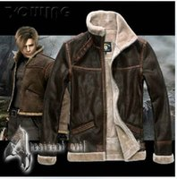 Wholesale RE4 RESIDENT EVIL LEON KENNEDY S PU Faux LEATHER FUR JACKET ALL SIZE AVAILABLE