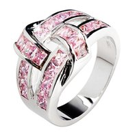 gold filled ring - Exclusive Geometric Studded Pink cubic Zircon Lady s KT white Gold Filled Ring sz6