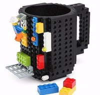 army coffee cup - Creative DIY Build on Brick Mugs Lego Pixel Mega Blocks KRE O K NEX Compatible Bricks cartoon Coffee drink Cup Drinkware kids toys colors