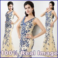 Wholesale 100 Real Image New Luxury Mermaid Evening Dresses with V Neck Blue and White Porcelain Sequins Long Formal Dress Party Prom Gown XU027