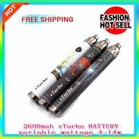 Cheap Cool 2600mah battery Adjustable wattage vTurbo battery e cigarette ego thread battery vs hana dna 30 Innokin Itaste VV mod fit ego atomizer