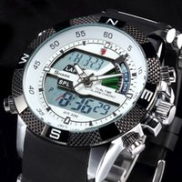 silicone - SHARK White Analog Digital Dual Time Day Date Display Alarm Silicone Strap Outdoor Quartz Wrap Wrist Military Mens Sports Watch SH041