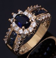 Wholesale Nobby Hot Size to K Yellow Gold Filled Blue Sapphire CZ Gemstone Jewelry engagement rings For Women R013YBS