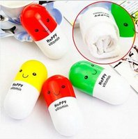Wholesale hOt Selll Best Cute HAPPY VITAMIN Mini Storage Container Towel Capsule Unique Gift Novelty