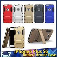 Wholesale iPhone6 Plus Samsung S6 Iron Man Hybrid in1 Slim Tough Armor Silicone Case Stand Holder Shockproof Hard Back Cover FREE DHL Factory Direct