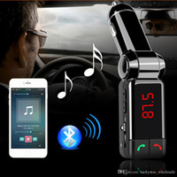 aux port car - BC06 Bluetooth Car Kit Car Speakerphone BT Hands Free Dual FM Transmitter Port V A AUX IN Music Player For Samsung iPhone Mobile