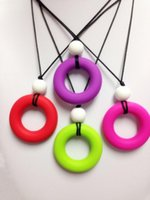 Wholesale New Silicone Teething Necklace Pendants Mix colors Simple Silicone Teething Necklace with silicone bead