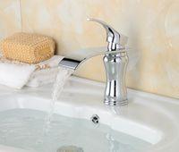 Cheap Waterfall Deck Mounted Bathroom Basin Faucet Vessel Sink Mixer Tap Sharp Handle