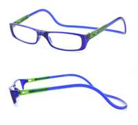Wholesale 2015 New Bi color Folding Magnetic Reading Glasses Women Men Plastic Eyeglasses Frame clear gafas oculos degree Reading Glasses