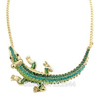beaded gecko - Acessorios Para Mulher Charming Gecko Green Color Alloy Rhinestone Collares Choker Necklace Shoulder Necklace