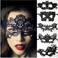 Wholesale 100pcs CCA3013 Mascaras Halloween Props Sexy Lace Party Masquerade Masks Venetian Costume Multi Patterns Black Lace Sexy Masquerade Masks