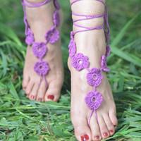 Wholesale 200 pairs Lady crochet barefoot sandals wedding anklets beach anklets shoes ornament ankle bracelet Cheap Price