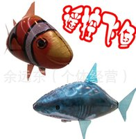 Wholesale Retail Flying Fish Remote Control Toys Air Swimmer Inflatable Plaything Clownfish Big Shark Toy Christmas Children Gifts Air Elves