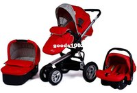 babies sleeping in car seats - Aluminum Frame Baby Stroller in Pushchair Sleeping Basket Car Seat Use Pneumatic Wheels