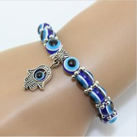 Wholesale 1PC Hamsa Fatima Hand Evil Eye Bracelet Handmade Beads Bracelet