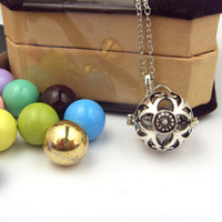 Mexican belly necklaces - Belly Sounds Ball Vintage Silvery Cage Mexican Bola Pendant Pregnancy Angel Caller Necklace