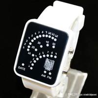 Wholesale Whole sale Fashion Binary Digital LED Waterproof PU strap watch Boys Girls Sport Casual Wrist Watches