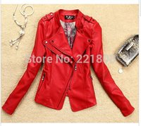 Wholesale leather jacket women spring women leather clothing outerwear jackets and coats ladies red leather coat motorcycle leather