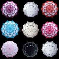 Wholesale Multicolor Handmade Embroidered Cotton Lace Parasol Sun Umbrella Wedding Bridal Party Decoration Supply YS