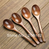 Wholesale Classic Round Spoon Bamboo Stirring Rod Tablespoon Coffee Spoons Rice Scoop Tableware
