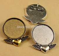 Wholesale 20pcs x41MM inner mm Alloy Antique Bronze silver gold Love Wing Blank Tray Brooches Cameo Cabochons Setting