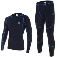 sweat suit - Top quality new thermal underwear men underwear sets compression sport fleece sweat quick drying thermo underwear men clothing