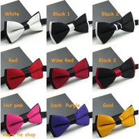 Wholesale Mens Fashion Tuxedo Classic Solid Color Adjustable Party Bowtie Red Black White Green Wedding Bow Tie