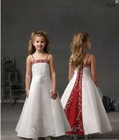 black and white flower girl dresses - Cute Little Girl Dresses for Wedding Spaghetti Strap Red And White Flower Girl Dresses with Embroidery Beadings Long Custom Made