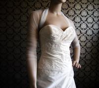 Wholesale Sheer Tulle Bridal Wraps Jackets Long Sleeves Bridal Jacket Ruffled Blero Jacket Wedding Dress