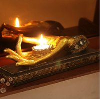 Polyresin craft candle - Novelty Bergamot Art Crafts Ornaments India Candle Holder Candle Light Resin Craft Zen Home Decor Furnishings