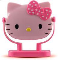 Wholesale Can Degrees Rolled With Box Kawaii Hello Kitty Pink Hot pink Women Desk Espelho De Maquiagem Mirror Makeup