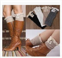 Wholesale 7 Color Fashion Knitting Lace Socks Women Wool Buttons Leggings Lady Boots Socks Multicolor Lace Hollow Leggings Socks A113CB