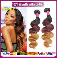 al por mayor la textura del pelo malasio-DHL libre # 1b # 33 # 27 brasileña Malasia peruana india Ombre onda del cuerpo del pelo Textura Remy no procesados Humano Vírgenes Ombre Hair Extensions