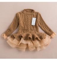jumper dress - Kids Girls Knit Sweater Dresses Baby girl tulle lace TUTU Autumn Winter princess jumper pullover dress A2