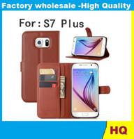 Envío libre cubierta de la carpeta de cuero vendedor caliente de Lychee con el caso del soporte titular de la tarjeta para LIBRE de DHL 10PCS teléfono Samsung Galaxy S7 Plus Mobile