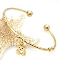 al por mayor pulsera de trébol de oro de 14 k-Extensible sexy de oro rosa 14K doble trébol negro uñas tornillo oso blanco pulsera de acero inoxidable pulsera para las mujeres pulseras brazalete