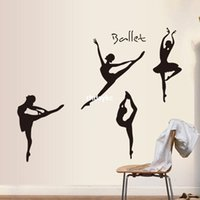 ballet wall decals - bedroom decoration Monochrome wall stickers trade hot models fifth generation white edge PVC transparent film ballet AY9061