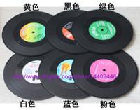 Wholesale 6pcs set sets Vinyl Coasters Retro RPM Record Cup Drinks Holder Mat Tableware Placemat Set