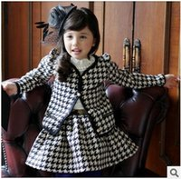 Girl houndstooth - 2014 New Arrival Channel Style Girls Sets Children Autumn High Quality Houndstooth Design Suits Jacket Skirt