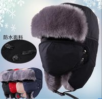 Wholesale Mens Women Winter Caps Hats Warm Earflap Russian Trapper Bomber hats Snow Outdoor Ski Cycling Hat Cap Waterproof Thickened EarCap With Mask