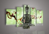 religious pictures - Hand painted wall art for living room bedroom decoration Religious Buddha statue Plum flower light green oil painting on canvas