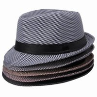 Wholesale pc Plaid Design Hemp Cotton Material Man Party Fedora Trilby Hat Styles DWU