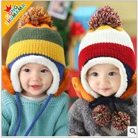 winter ear cap - 2014 Hat for Children Plus Velvet Thick Ball Caps Twisted Double Layer Baby Knitted Winter warm Ear Protector Cap color new