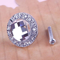 Wholesale New Round Practical Clear Crystal Glass Pull Handle Cupboard Wardrobe Drawer Cabinet Knob