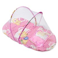 Wholesale Lovely Baby Infant Folding Type Mosquito Crib Net High Quality Portable Cute Travel Bed Tents Cotton Mattress