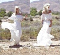 Cheap Off-the-Shoulder 1970s Hippie Bohemian Beach Wedding Dresses 2015 Spring Bridal Gowns MG08 Lace and Chiffon Boho Vestido De Novia Custom