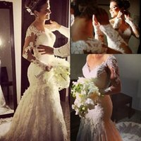 Cheap 2015 Fall Winter Mermaid Wedding Dresses Best Long Sleeves Lace Hollow Sweetheart Gown