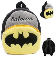 Unisex bats fabric - 2015 New baby cute Batman design school bags children lovely movie star bags for school kids bat man backpack