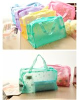 Wholesale Travel Portable Makeup Bag Toiletry Bathing Transparent Pouch Case Waterproof Random